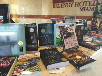 Books on display in hotel lobby.