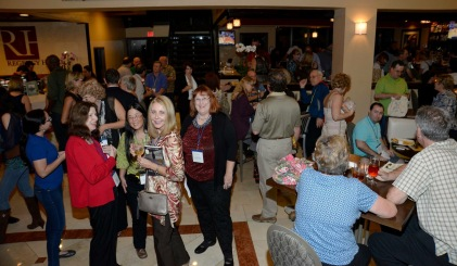 Mingling with other authors and publishers.