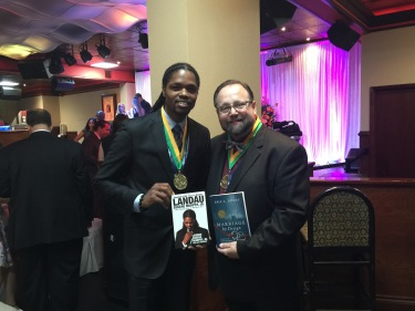 Celebrating with Landau Eugene Murphy, Jr. (America's Got Talent WINNER) and new Gold Medal Author...